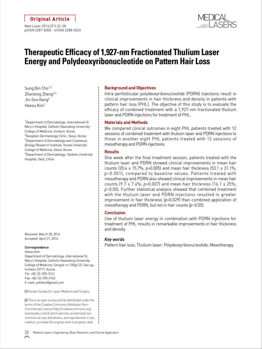 남성형/여성형 탈모치료에 대한 PDRN 주사와 1,927nm Thulium레이저의 치료효과